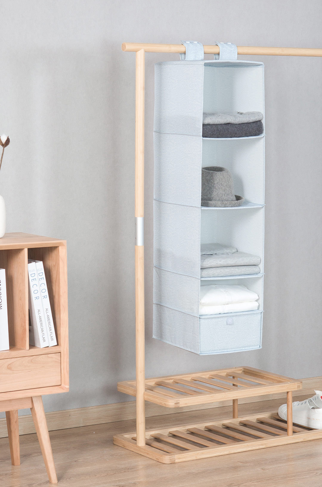 Nature Household 5 Compartment Hanging Fabric Storage Organizer Keeps Your Things Organised Multipurpose Design